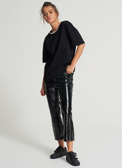 Pi π Sırtı Baskı Detaylı Sweatshirt Siyah